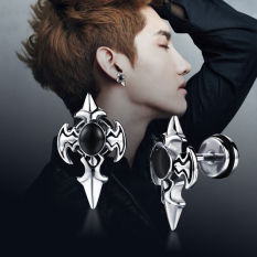 Fashion Earring Punk Anium Steel Cross Sword Ear Stud Jewelry For Men