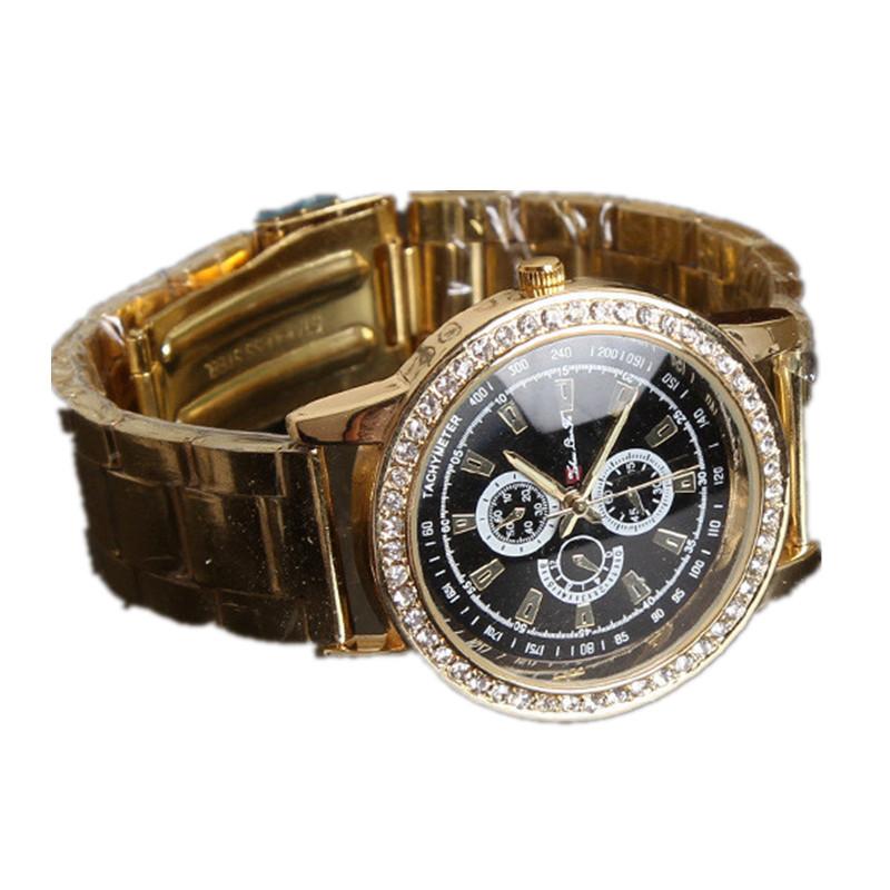 Fashion Golden Stainless Steel Watchband Analog Quartz Wrist Watch