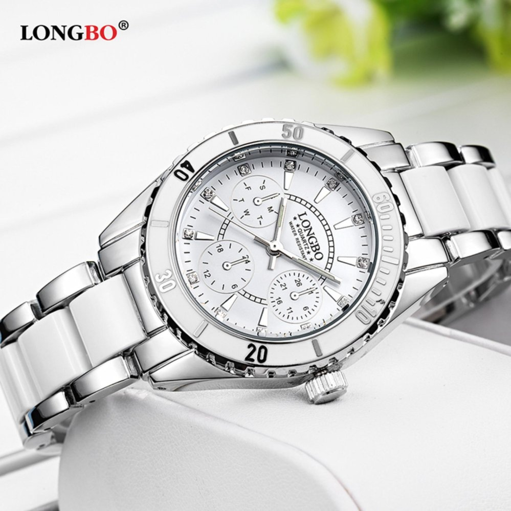 Fashion LONGBO Casual Ceramics Watchband Casual Anolog Women Ladies Girls Watch Wristwatch 80303 - intl