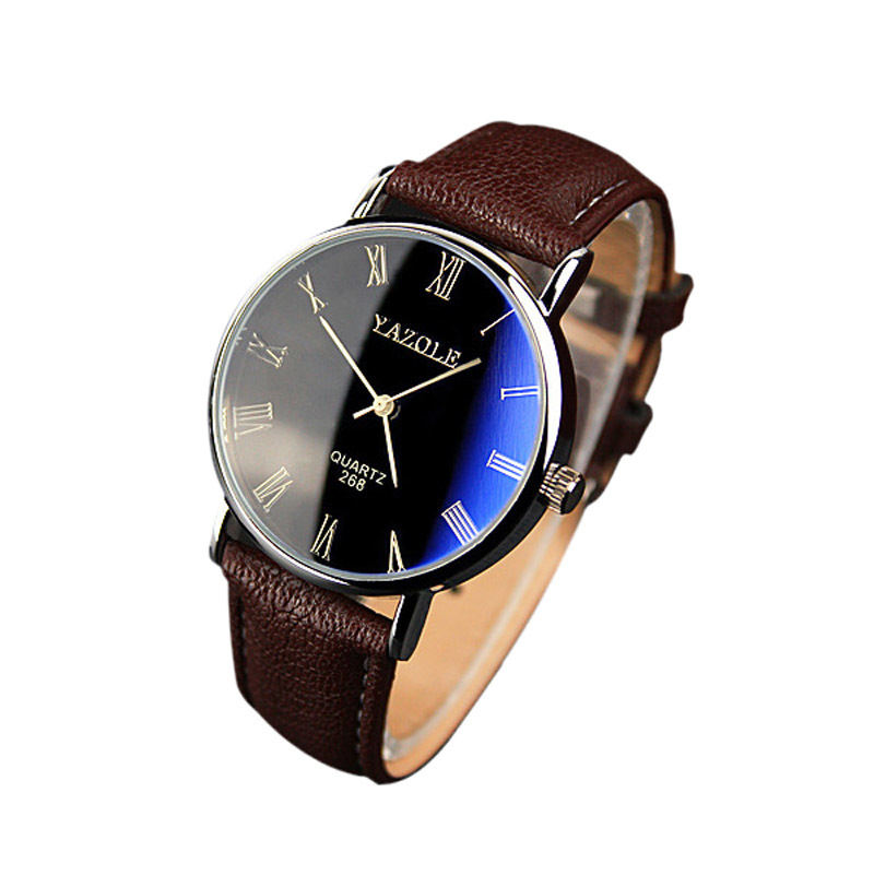 Fashion Luxury Faux Leather Mens Quartz Analog Watch (Brown)