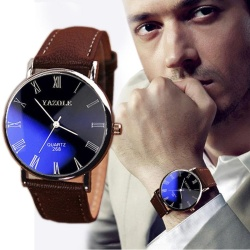 Fashion Luxury Faux Leather Mens Quartz Analog Watch Watches - intl