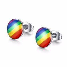 Fashion Rainbow Color Stud Earrings For Women And Men Round Design Stainless Steel Earrings - intl