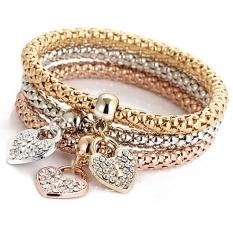 Fashion Women 3pcs Gold Silver Rose Gold Bracelets Set Rhinestone Bangle Jewelry - intl