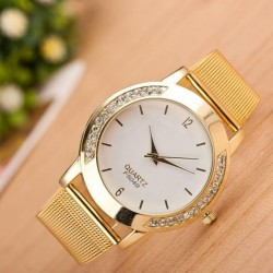 Fashion Women Crystal Golden Stainless Steel Analog Quartz Wrist Watch - intl