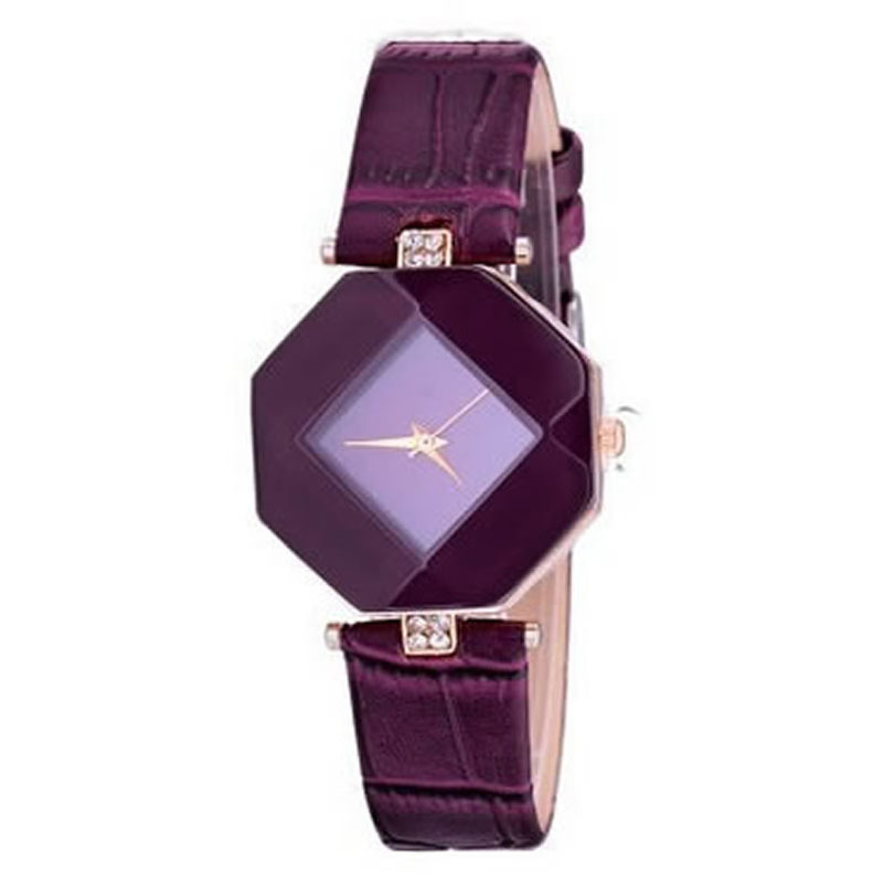Fashion Women Diamond Leather Stainless Steel Analog Quartz Wrist Watch NEW (Purple) product preview, discount at cheapest price