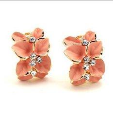 Fashion Women Diamond Sterling Gold Rhinestone Crystal Stud Earrings Silver Pearl Plated Retro Cuff Clip Studs