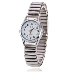 Fashion Women Large Digital Spring with Quartz Watch Strip Simple Digital Scale Watches - intl