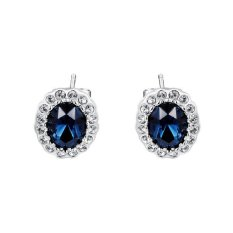 Fashion WomenS Elegant White Gold Plated Jewelry Stud Ink Blue Leaf Earrings Earbob Ear-Ring