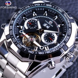 Forsining Automatic Military Wrist Watch Tourbillion Watch Calendar Display Silver Stainless Steel Mens Watches - intl