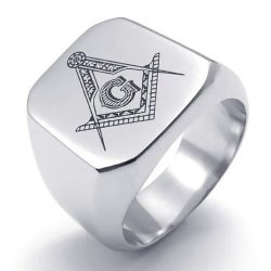 Freemason Masonic Mens Ring Polished 316L Stainless Steel Band Silver- INTL