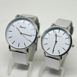 Geneva Couple Candy Mesh Casual Watch (Silver Strap/White Face)