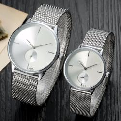 Geneva Couple Silver Mesh 003 Watch