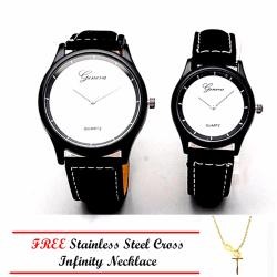 Geneva Couple Velvet Leather Strap Watch (White) with Stainless Steel Infinity Cross Necklace