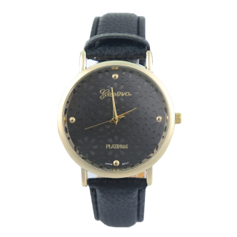 Geneva Floret Women's Black Classic Leather Watch (Black)