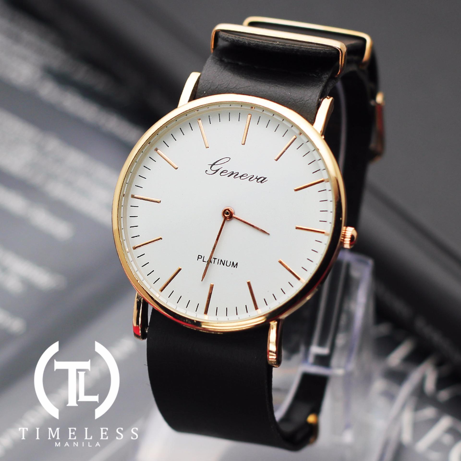 Geneva Linda Long Strap Leather Watch (Black)