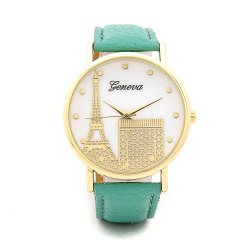 Geneva Paris Eiffel Tower Dial Leather Watch- Green