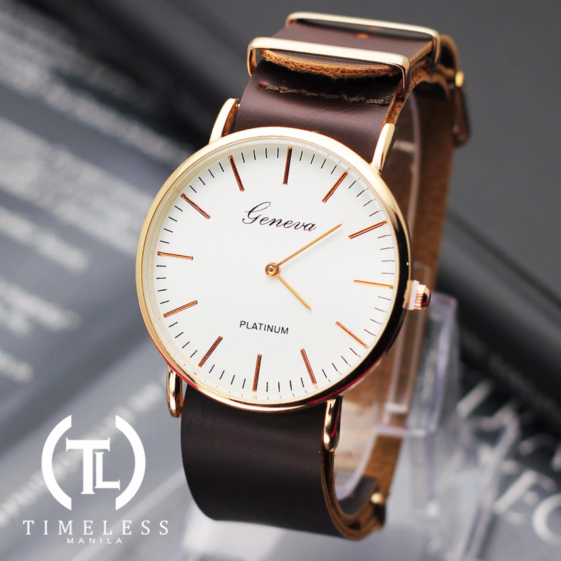 Geneva Linda Long Strap Leather Watch (Dark Brown)