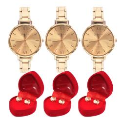 Geneva Platinum Rosegold Metal Watch Set of 3 with Free 3 Pairs Rosegold Earrings