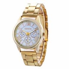 Geneva Roman Numerals Gold Steel-belt Watch (gold-white)