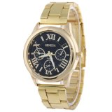 Geneva Roman Numerals Women's Gold/black Steel-belt Watch SY-3 - thumbnail 1