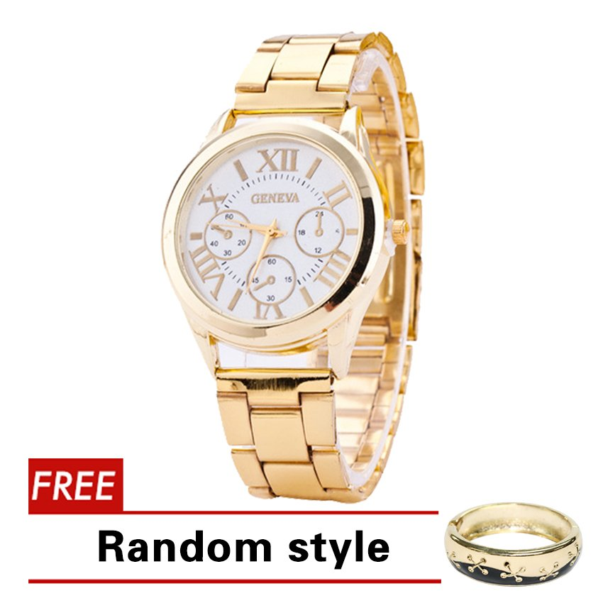 Geneva Roman Numerals Women's Gold Steel-belt Watch SY-3 with Free Natalie Gold Star Bangle Random style - thumbnail