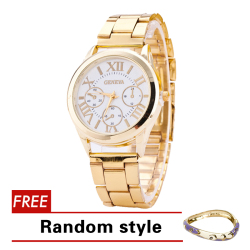 Geneva Roman Numerals Women's Gold Steel-belt Watch SY-3 with Free Pixie Bangle Riley Random style