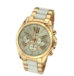 Geneva Three Eyes Strip Women's Two-Tone Stainless Steel Strap Watch (Gold/Yellow)