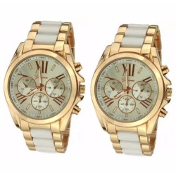 Geneva Three Eyes Strip Women's Two-Tone Stainless Steel Strap Watch (Gold/Yellow) SET OF 2