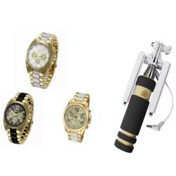 Geneva Three Eyes Strip Women's Two-Tone Stainless Steel Strap Watch Set of 3 (Multicolor) With 13.5cm Mini Foldable All-In-One Monopod with Remote Clicker