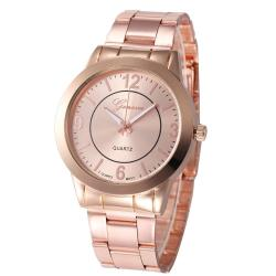 Geneva Women Faux Leather Analog Quartz Wrist Watch Rose Gold - intl