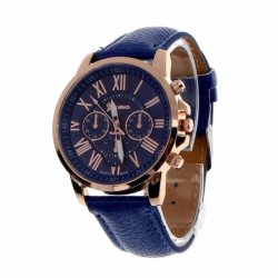 Geneva Women's Fashion Watch Roman Numerals Faux Leather Watch (Blue