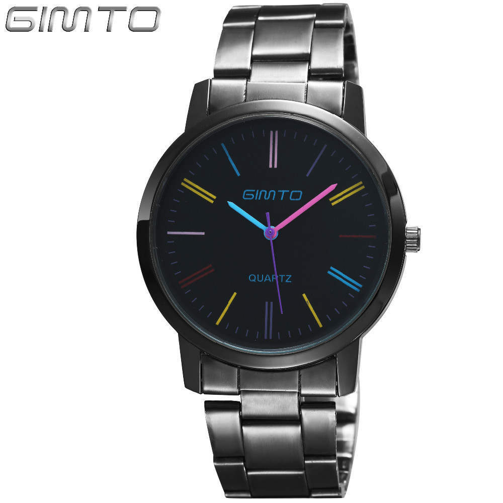 'GIMTO Men''s Fashion Steel Quartz Watch(Color:Black)' product preview, discount at cheapest price