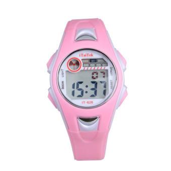 หญิงว่ายน้ำกีฬานาฬิกาดิจิตอลนาฬิกาข้อมือกันน้ำสีชมพู