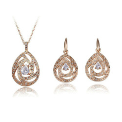 Glamluxury Tear Rhinestone Jewellery Set (Gold Plated 18k)