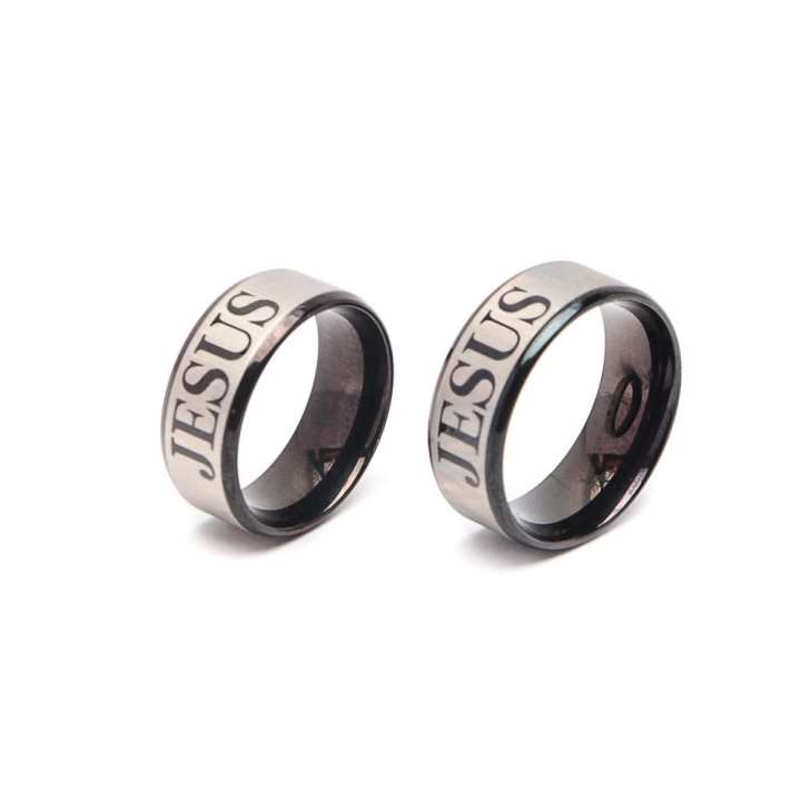 Glamorosa Solid Jesus Black Steel Couple Ring (Black/Silver)