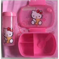 Gs Hk Lunch Box + Bottle Set (pink) Incudes Lunch Box Bag By Golden Shine.