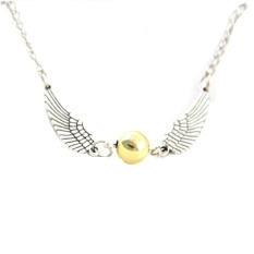 HDL Bronze/Silver Tone Golden Snitch Harry Potter The Deathly Hallowswing Pendant Chain Necklace -