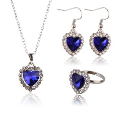 Heart of Ocean Charm Dark Blue Crystal Rhinestone Necklace Ring Earring Set