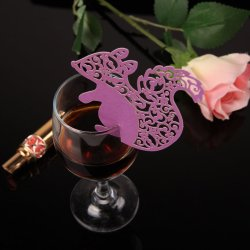 HKS 50PCS New Squirrel Shape Wine Glass Place Cards Wedding Party Decor Purple - Intl