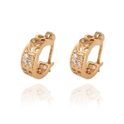 HKS Carved Floral Crystal Earrings Diamante Lady Ear Stud 18K Gold Filled - Intl
