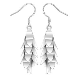 HKS Creative Multilayer Leaves Long Earrings Exquisite Silver Accessories - Intl