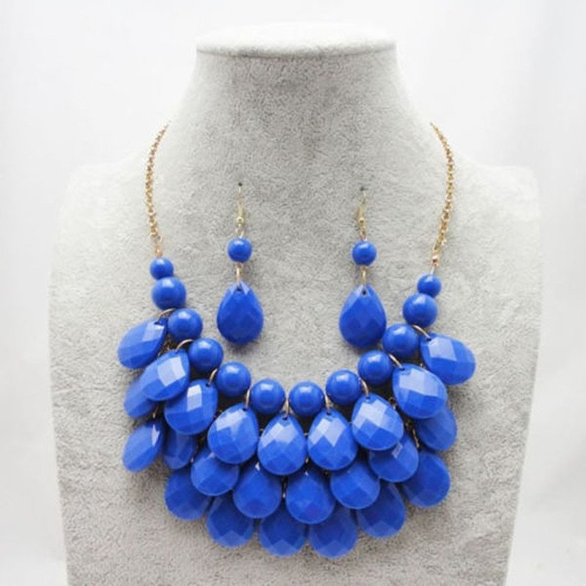 HKS European Fashion Teardrop Shape Pendant Necklace Earrings Sets (Royal Blue) - Intl product preview, discount at cheapest price