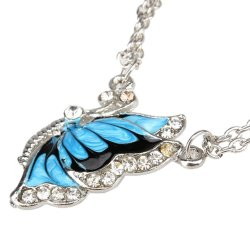 HKS Fashion Crystal Butterfly Pendant Necklace (Blue) - Intl