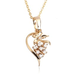 HKS Floral Heart Necklace Girl Crystal Pendant Trendy Accessory Gold Filled - Intl