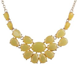 HKS Hot Choker Korean Yellow Gem Stones Flower Pendant Necklace Chunky Necklace - Intl