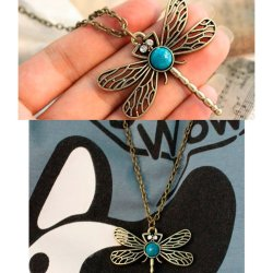 HKS Retro Style Bronze Dragonfly Long Chain Sweater Necklace Pendant New E - Intl