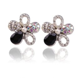 HKS Sparkling Cinquefoil Earrings Ear Stud Floral Bling Jewelry - Intl