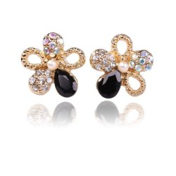 HKS Twinkling Cinquefoil Earrings Ear Stud Floral Bling Jewelry Gold - Intl