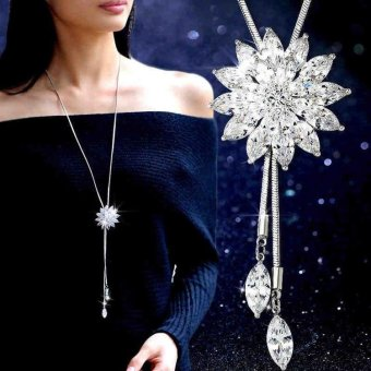 HOT 2017 All-match long paragraph sweater chain crystal necklace pendant jewelry accessories zircon necklace female Valentine Gift Christmas gift-White - intl