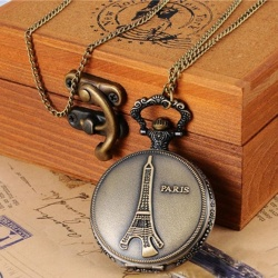 Hot Sale! Eiffel Tower Paris Women Bronze Chain Necklace Pocket Watch - intl